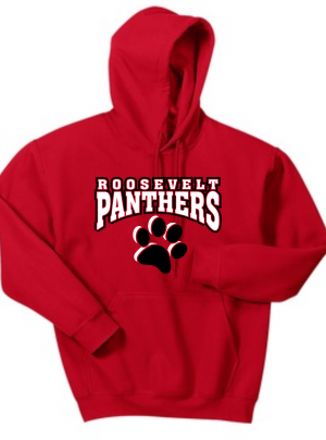 Roosevelt Panthers Red or Grey Hooded Sweatshirt